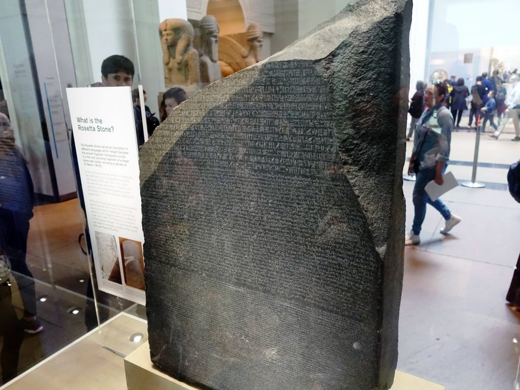 silly me thought that the rosetta stone was at the Louvre, but Paris only has a copy since the British re-stole the original from the French :)