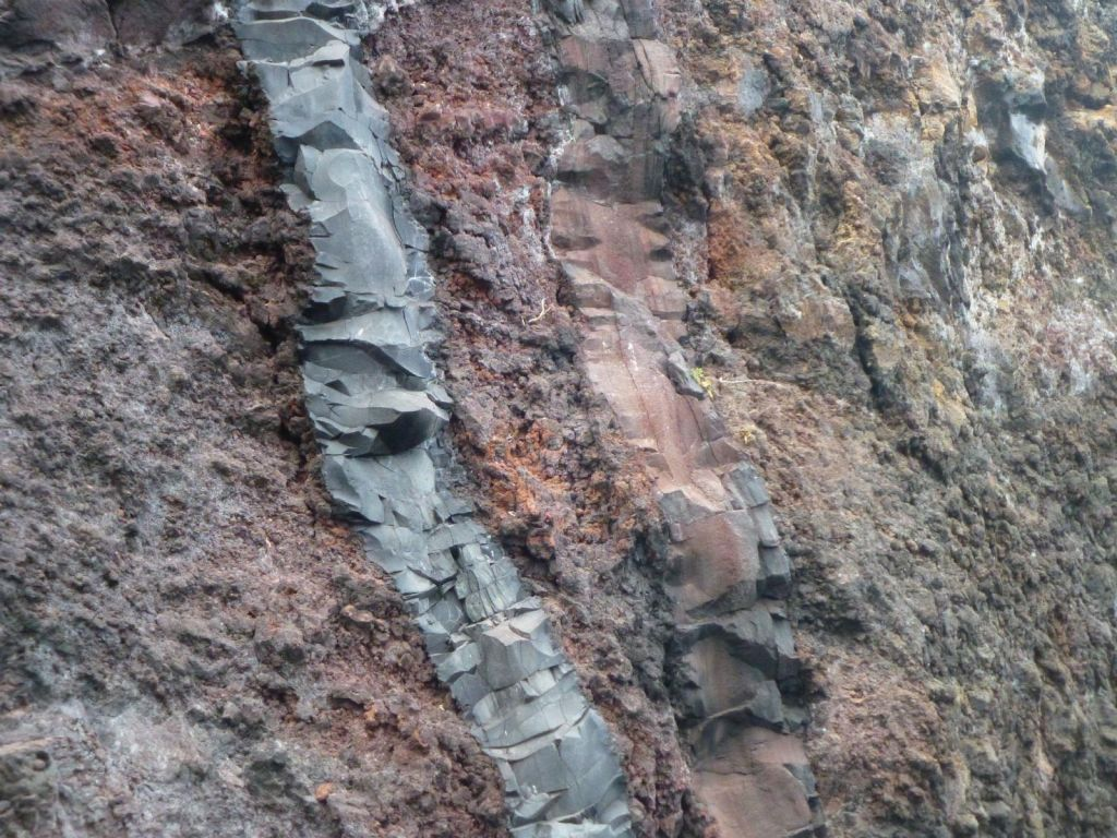 interesting rock formations made from a mixture of lava and compacted volcanic ash