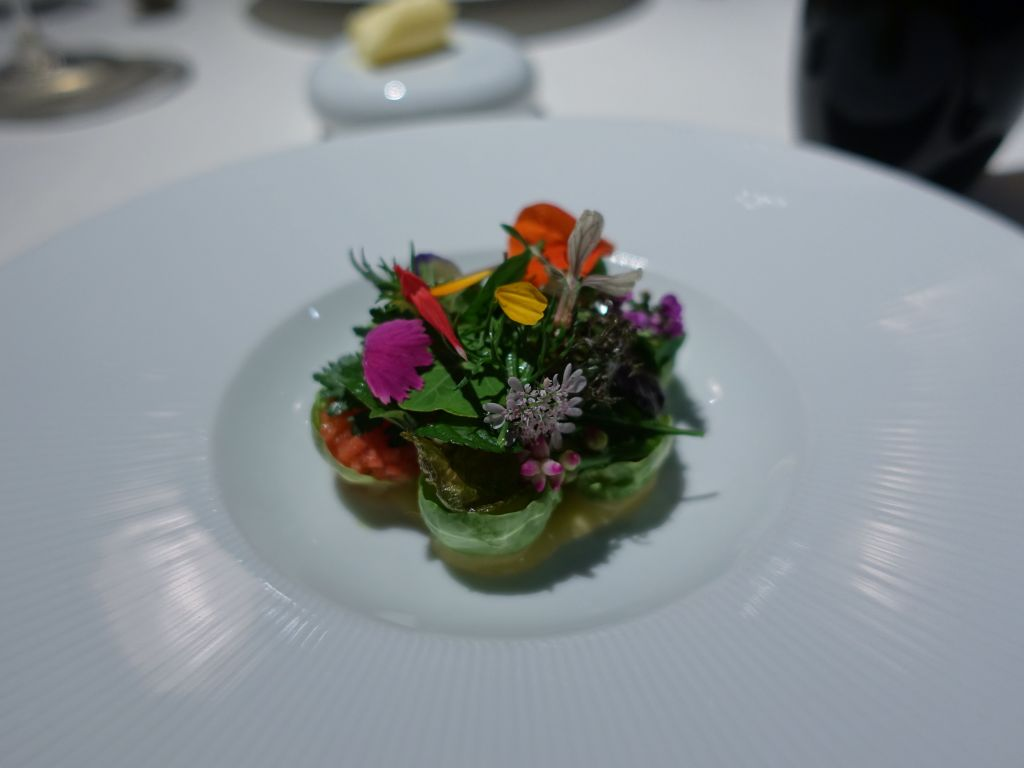 lovely dish with edible flowers
