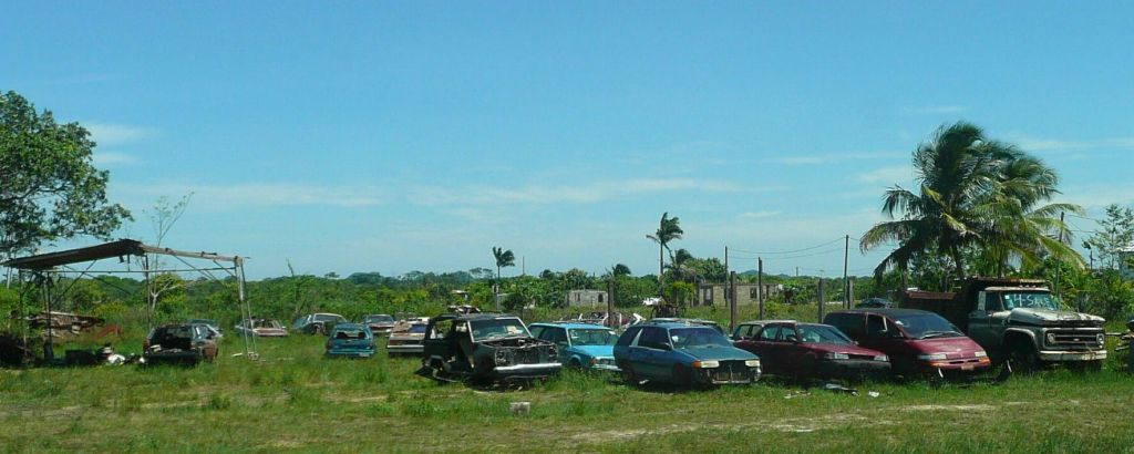 Belize is where cars go to die, they're stripped for parts and left where they were