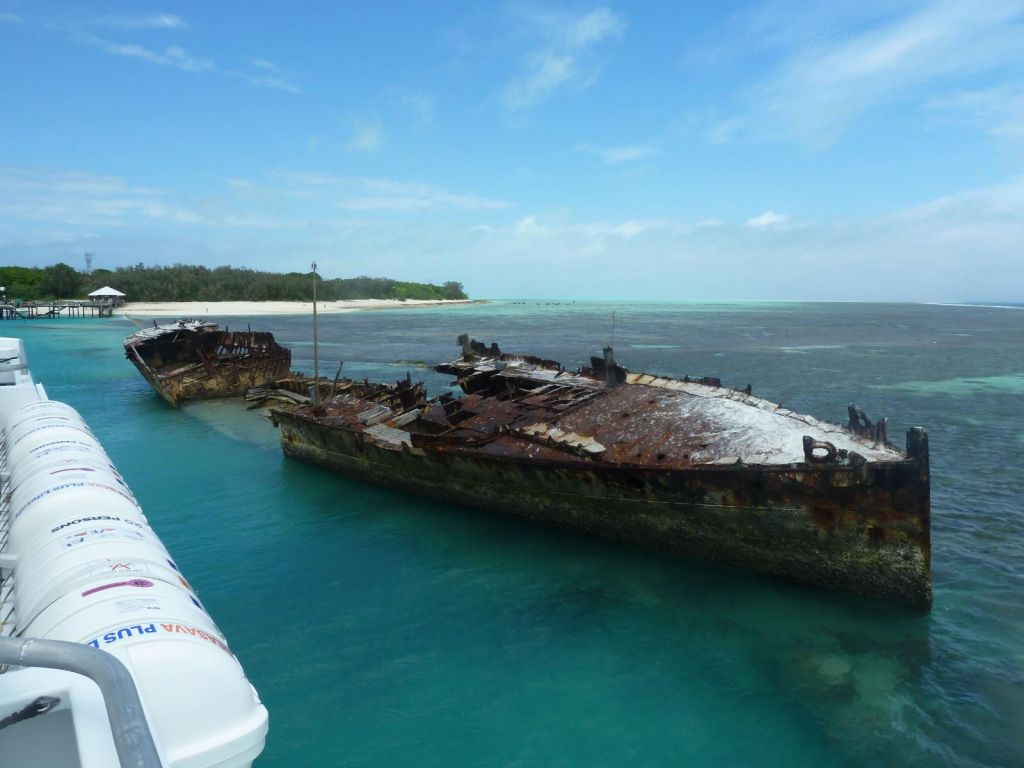 an old boat that got beached on the reef