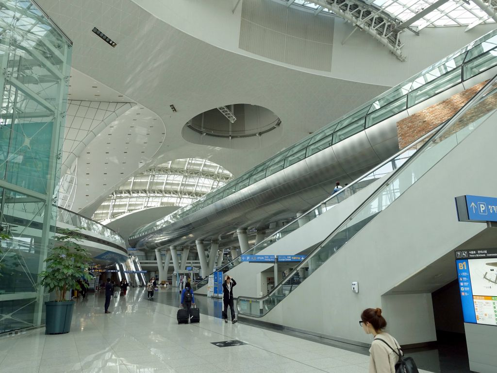 pretty futuristic looking airport with maglev train, sadly not going in our direction.