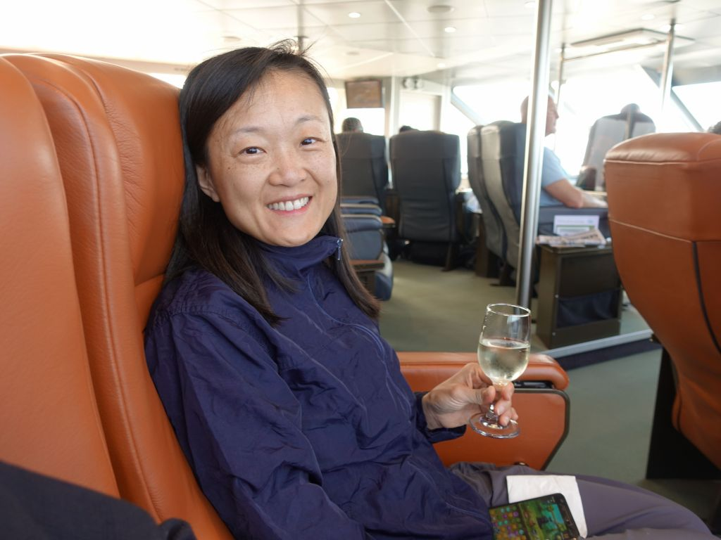 Jennifer was happy with our premium cabin and unlimited drinks :)