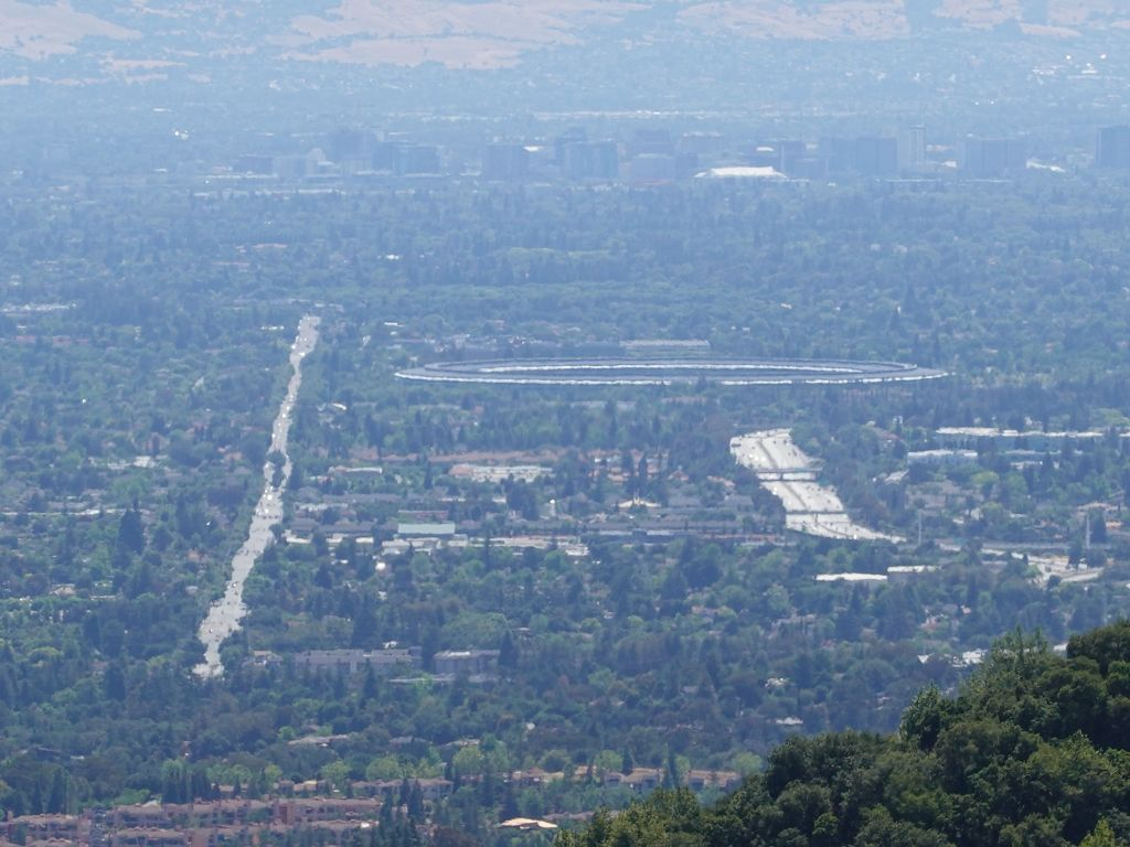 interesting view of stevens creek, 280, and the spaceship