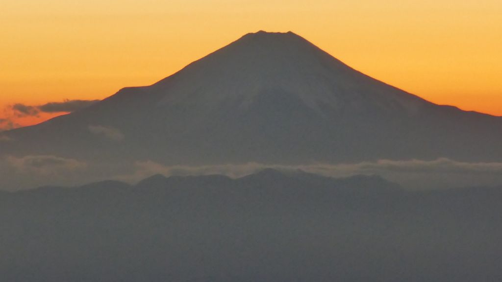 Fuji-San, at sunset, lucky shot from the plane