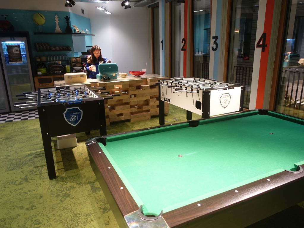 two foosball tables, they're not screwing around :)