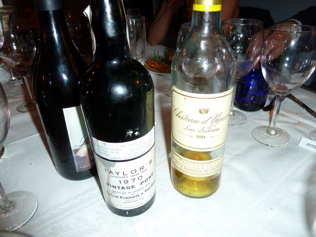 1970 Port and 1981 chateau d'Yquem Sauterne