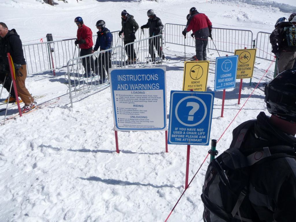 sign that says 'if you have not used a chair lift before', at the bottom of Mott Canyon, hahaha
