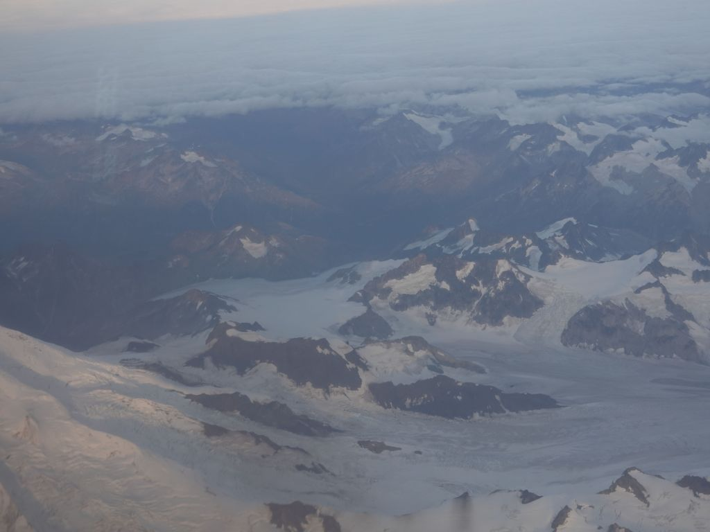 we flew over a glacier on the way