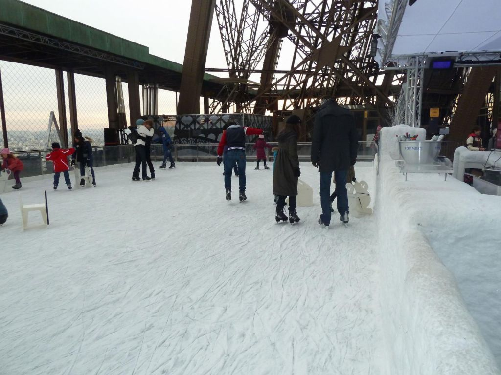 Ice skating on the 1st floor of the Eiffel Tower