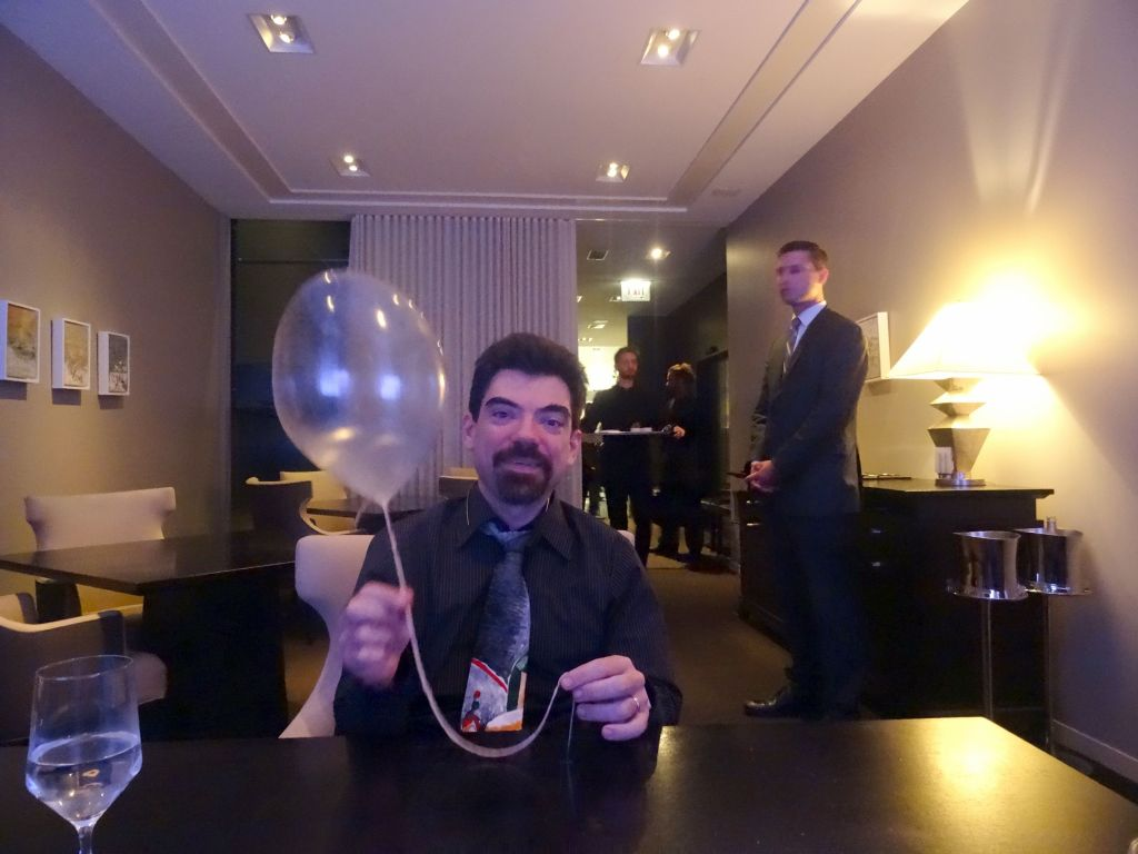 edible sugar balloon filled with helium, good times :)