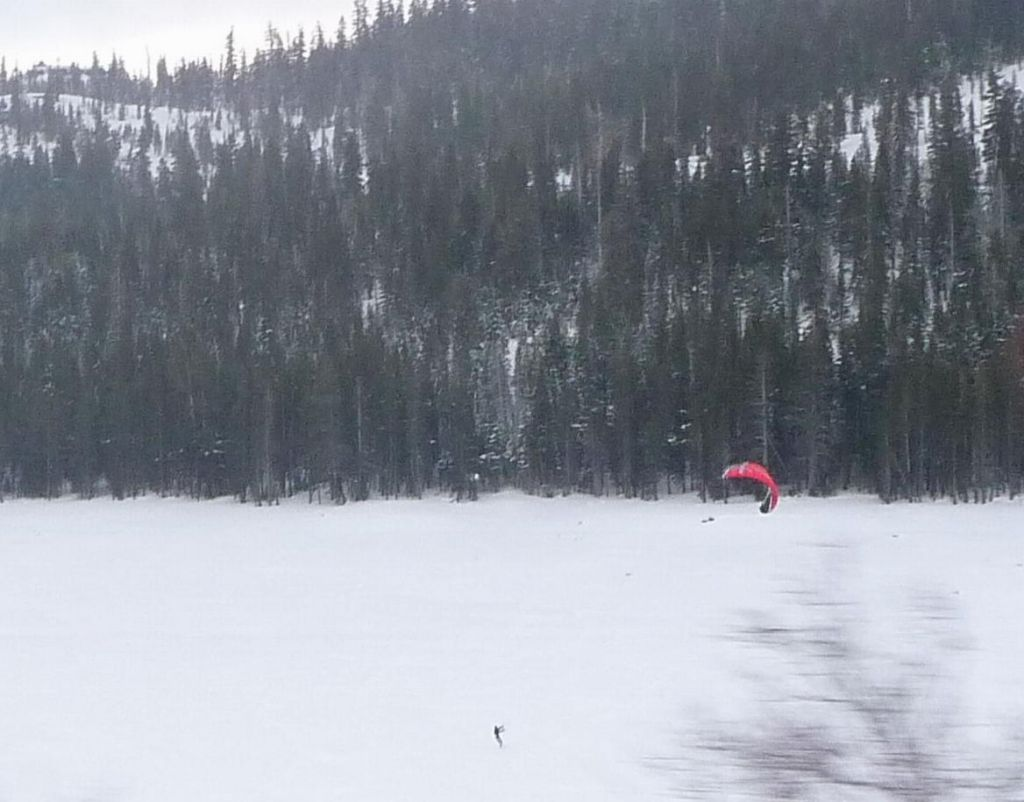 kite surfing on an ice lake