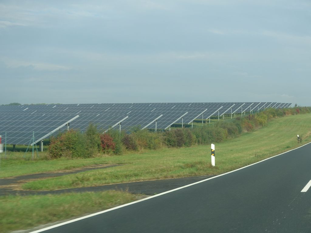 we saw many solar farms on the side of the road