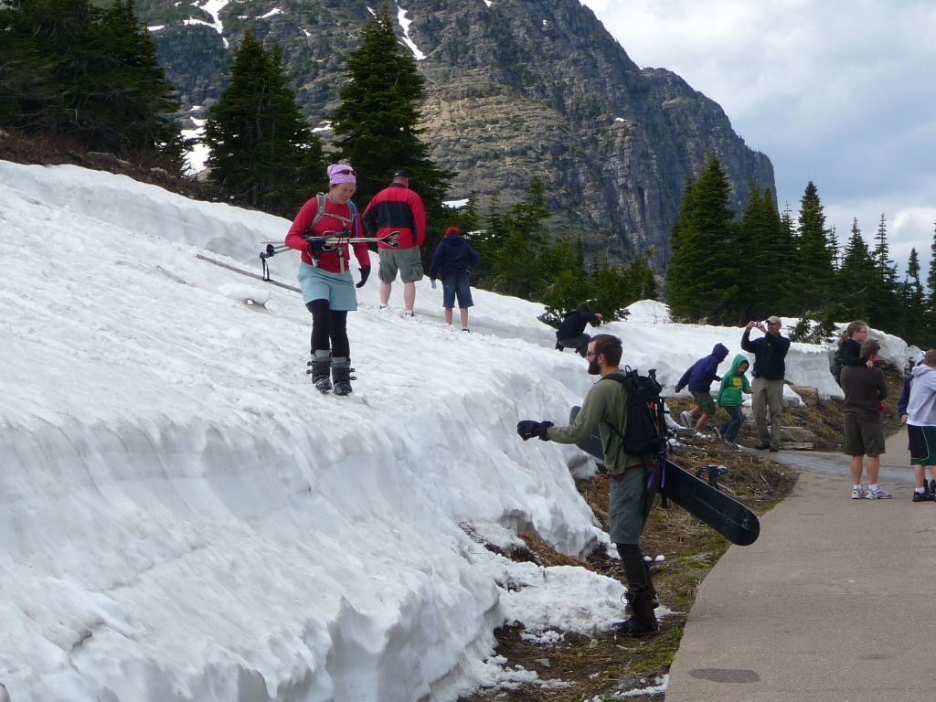 People got excited to ski/board a few feet of glacier :)