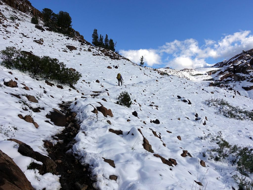 climbing to the pass, more snowy