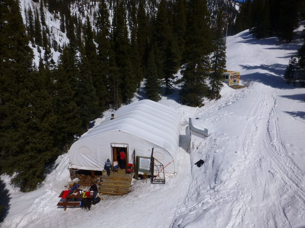 The lodge tent and ski bus rental store are still there :)