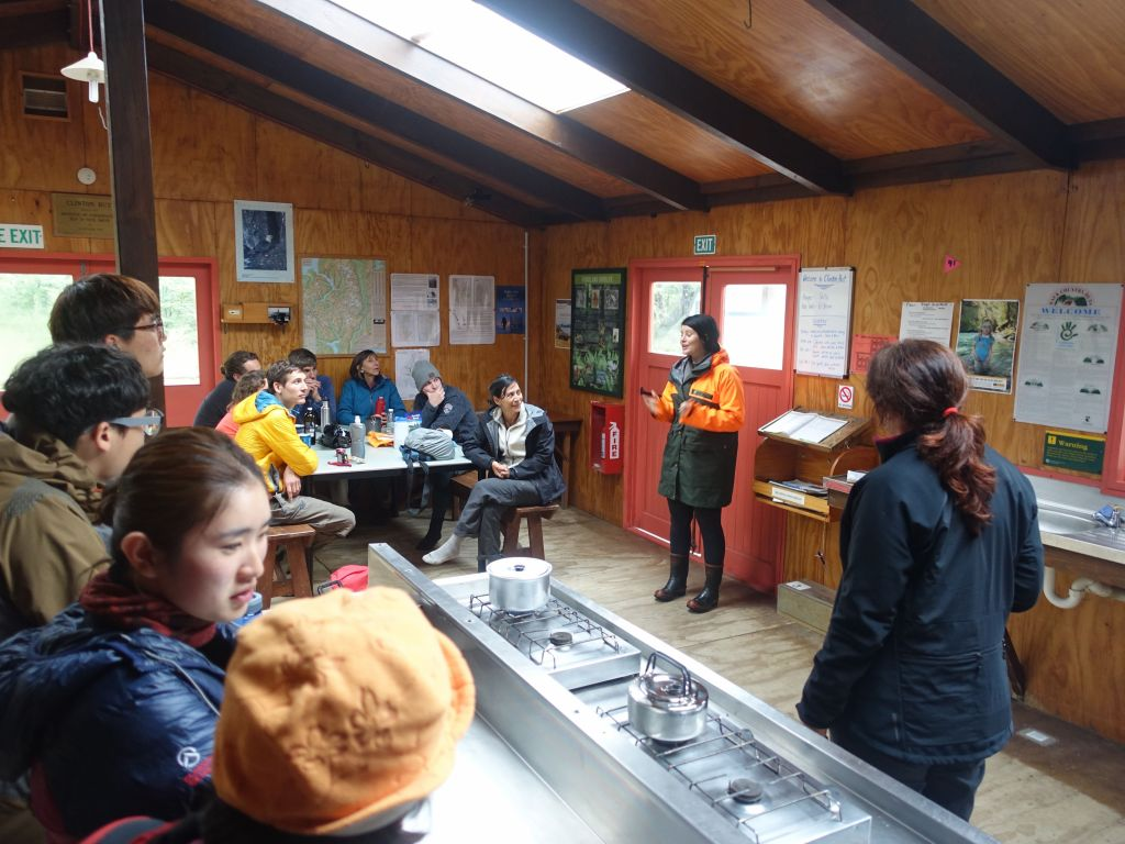 a ranger gave us a quick talk in the giant kitchen/common room of our huts
