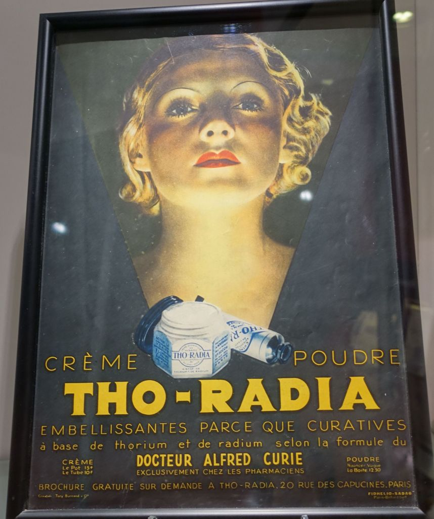 french poster selling radioactive cream, supposedly to make women prettier. Ooops...