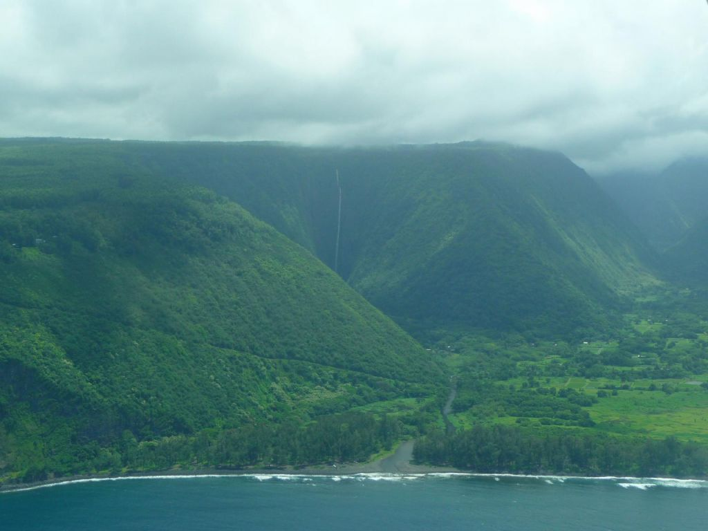 Waipio Valley, with a shot of the road down we didn't take