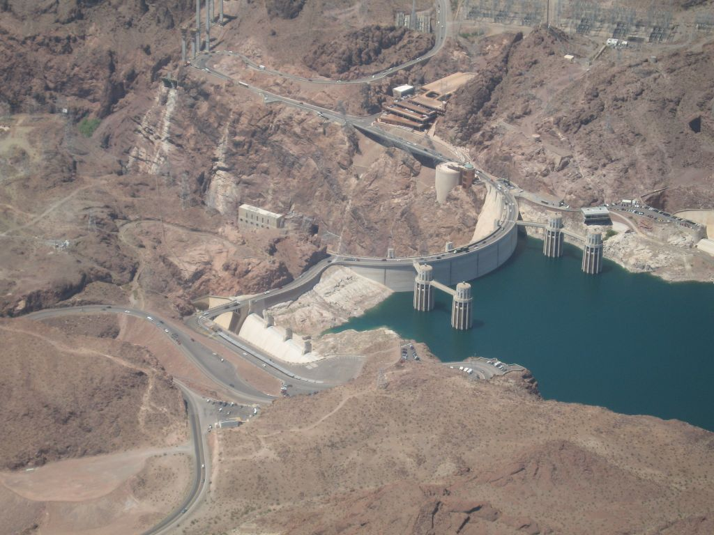 The hoover dam before they built the bypass bridge