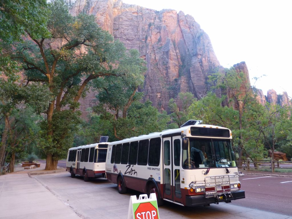 Except during very lowest season, the busses are required, but they run very often