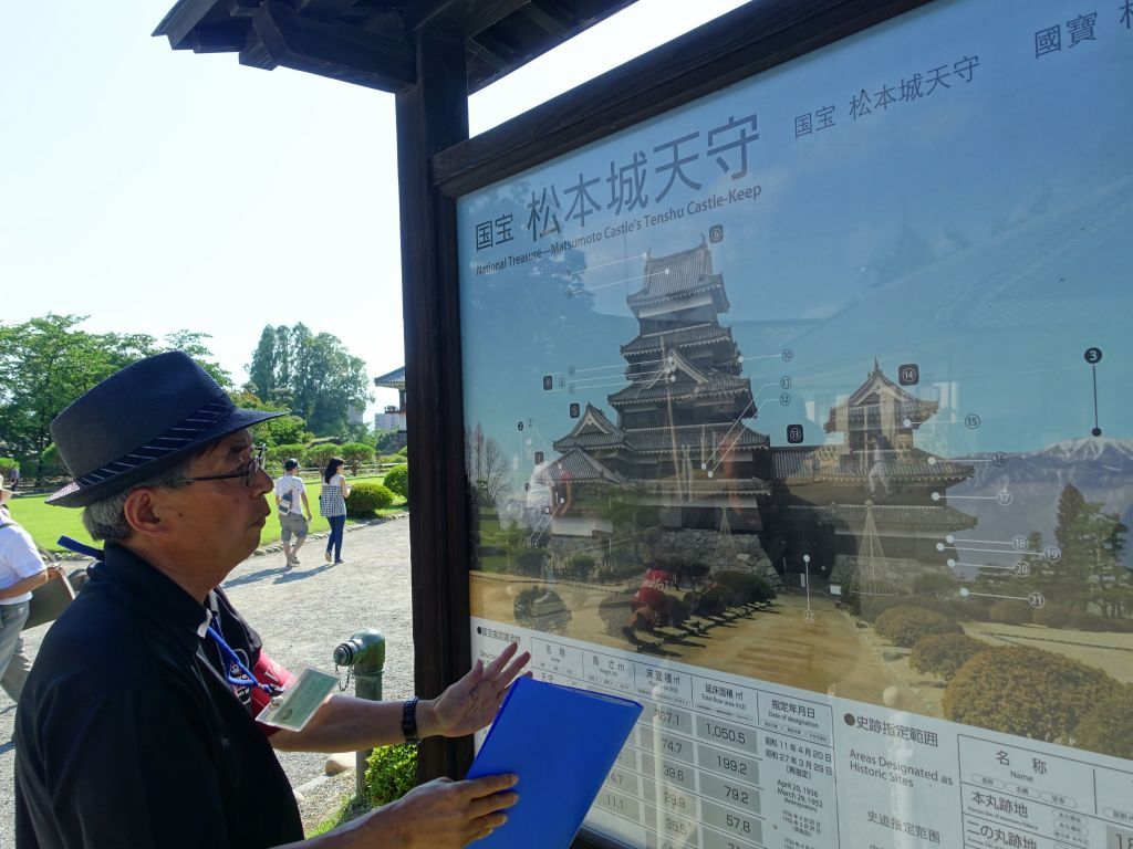 Takayama-San, explaining the castle's history to us