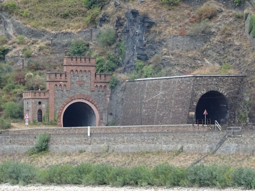 little castle like entrance for the train tunnel