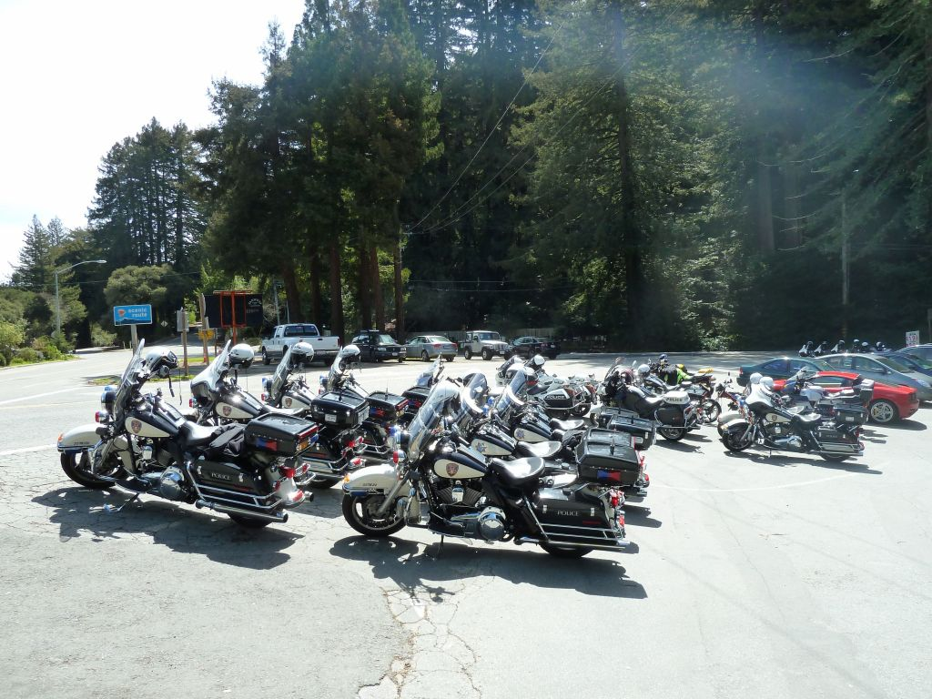 A huge bunch of motorcycle cops out for a ride too, also came there for lunch