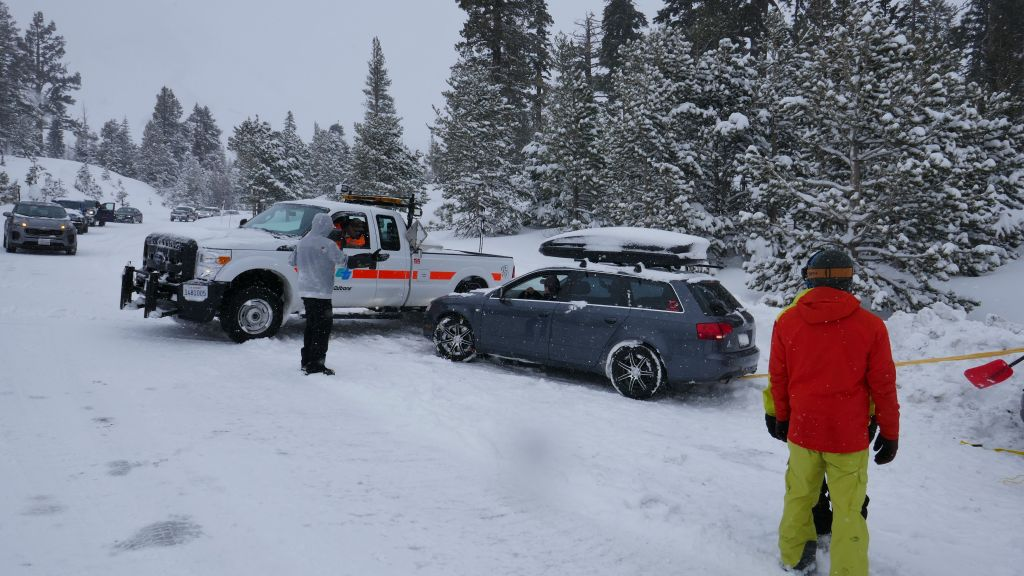Caltrans truck then slid into the audi and hit its front
