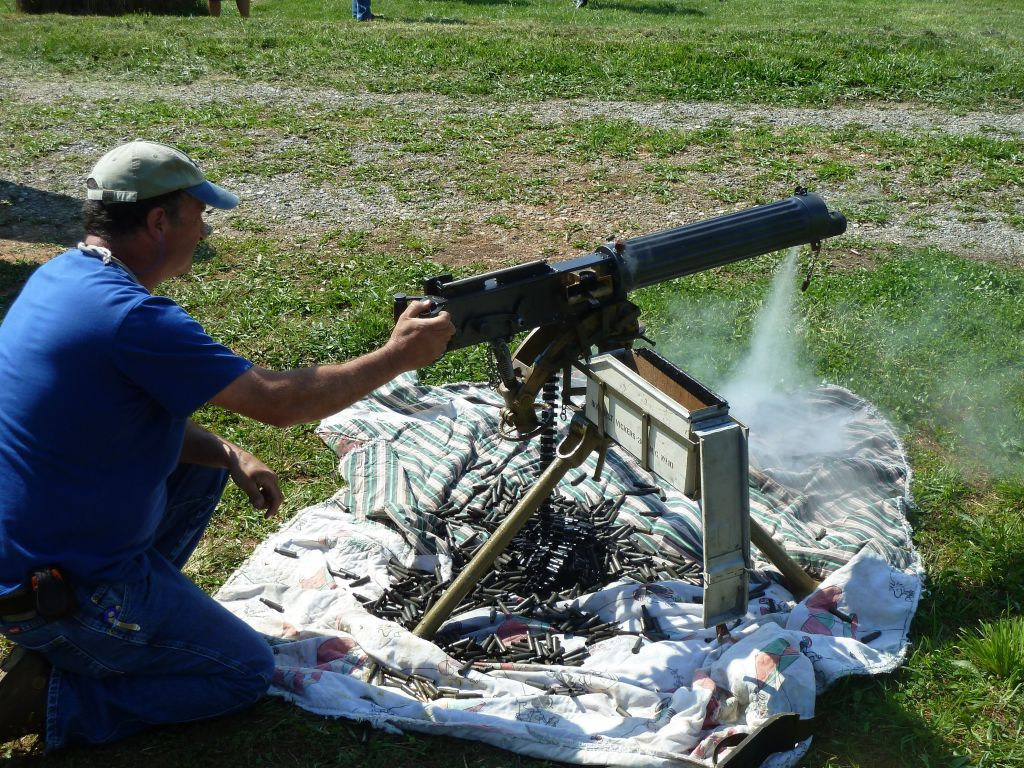 the machine gun was water cooled, so vapour came out when it was too hot