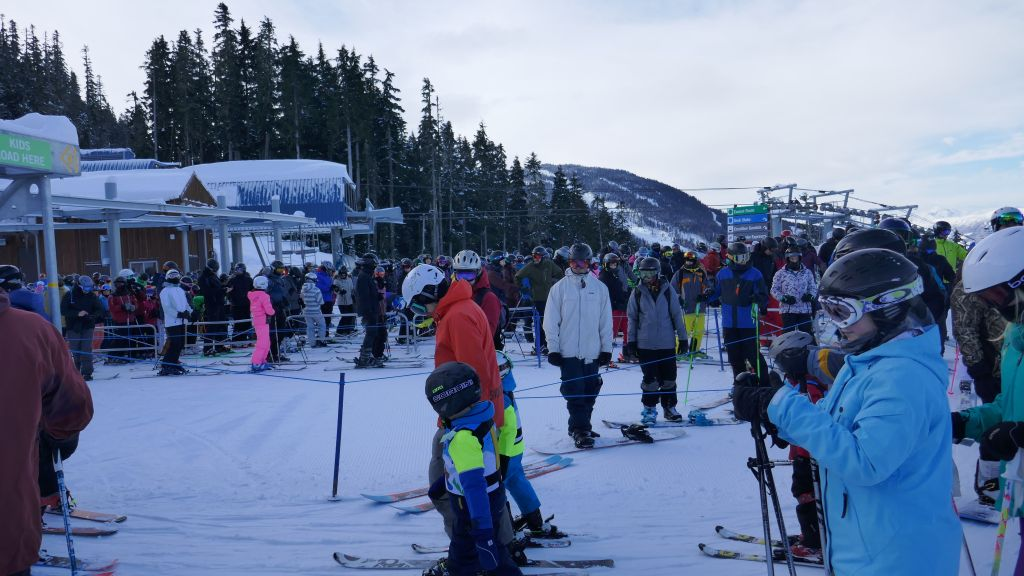 Whistler opened very little due to winds, and this gave ridiculous lines