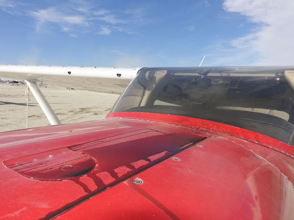 we got a bit of oil, but enough had been lost in flight that it didn't cover the windshield