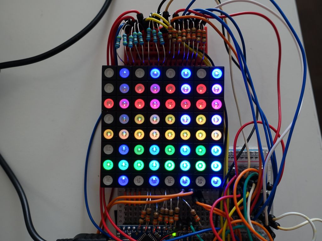 Marcs Blog Arduino Driver For Direct Driving Single To 3 Color 8x8 Rgb Led Matrix Wiring Generating Circles With The Adafruitgfx Library