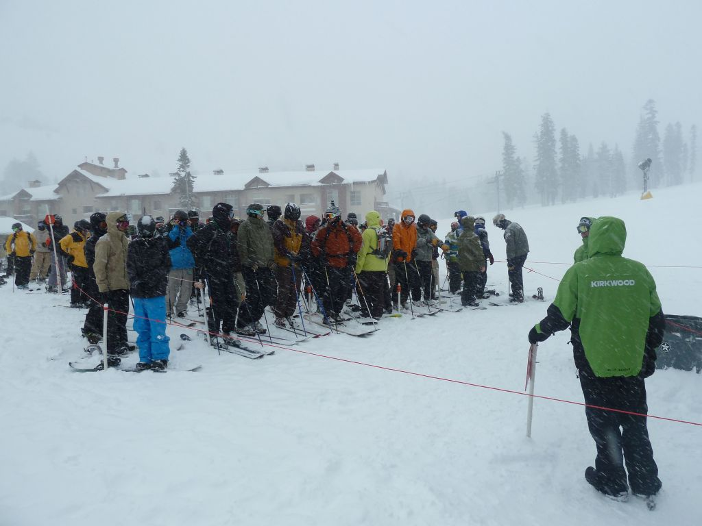 lift line for solitude, the first lift to open at 10:00.