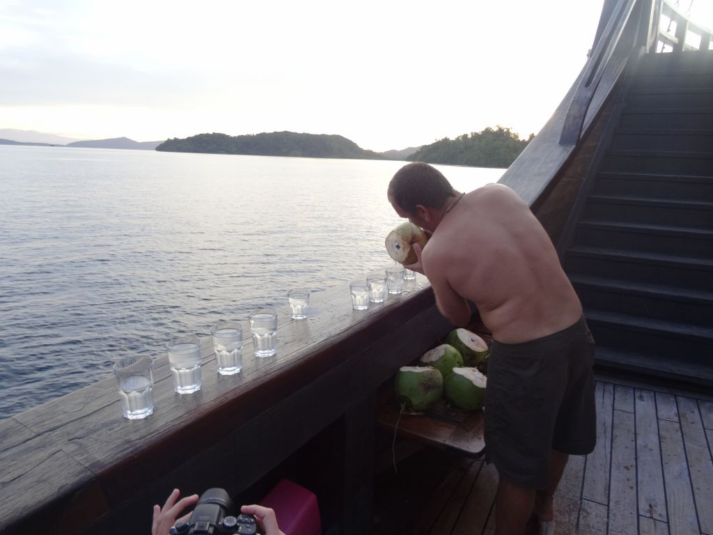 they also got some fresh green coconuts for us later