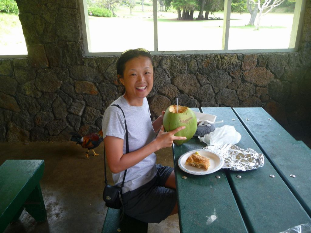 fresh coconut juice with pulled pork for lunch