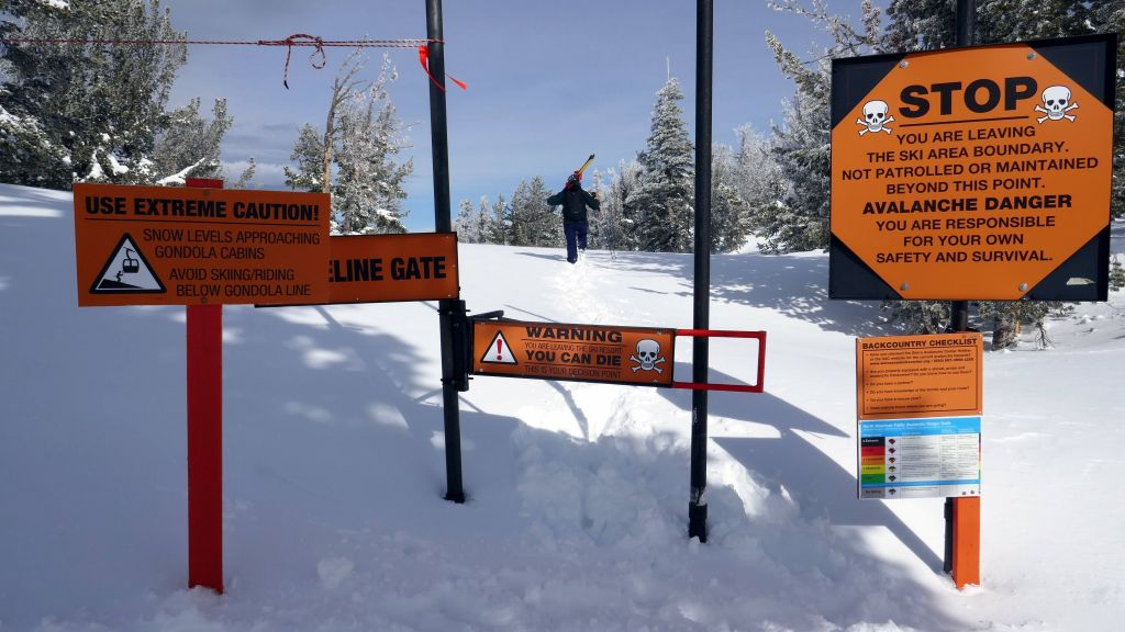 we walked to the first backcountry gate as the lifts weren't running yet (!)