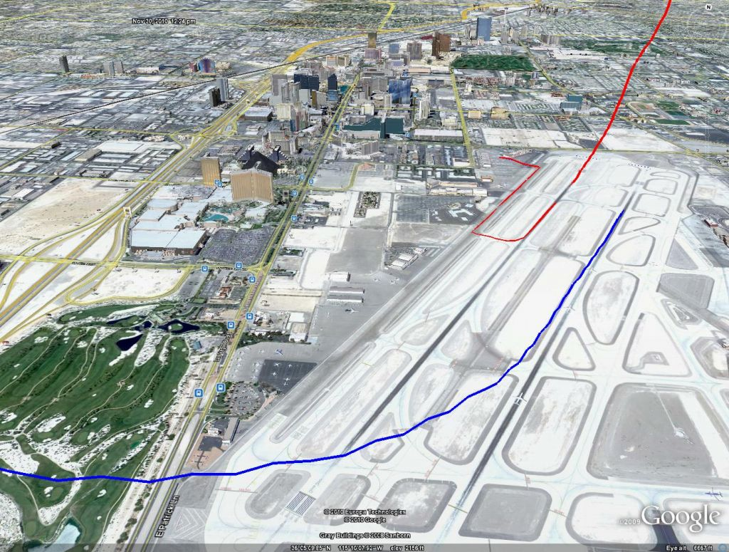 Las Vegas McCarran takeoff (blue) and landing (red)