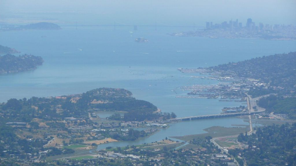 bay bridge as seen from the top of Mt Tam