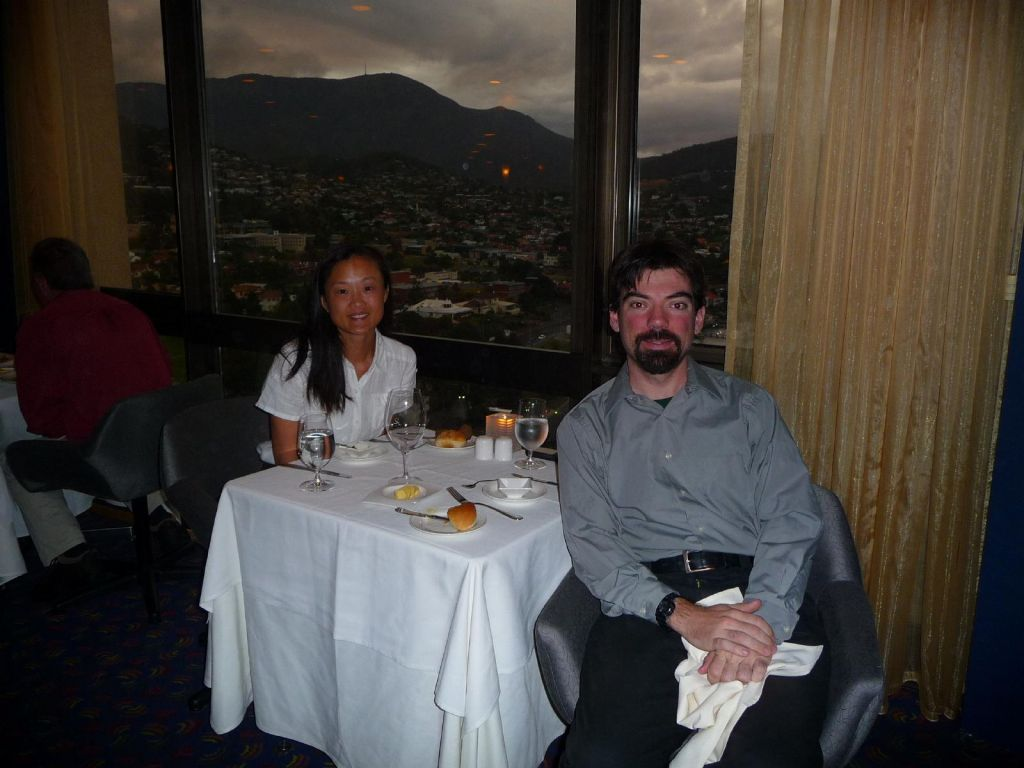 that evening we had our last dinner on the rotating restaurant at the top of our hotel