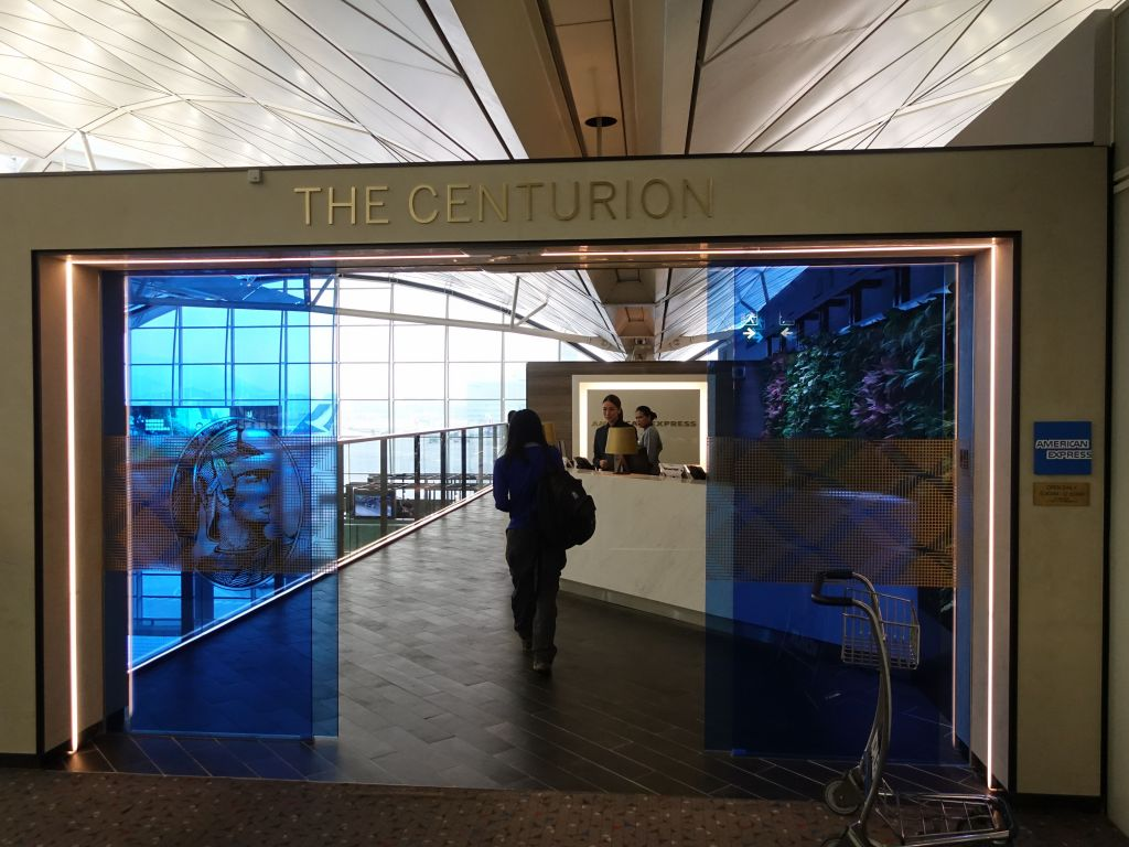 Jennifer was very keen on checking out the centurion lounge in Hong Kong