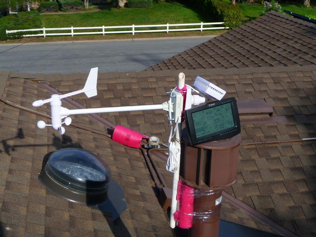 wind sensor on the roof with the portable receiving console