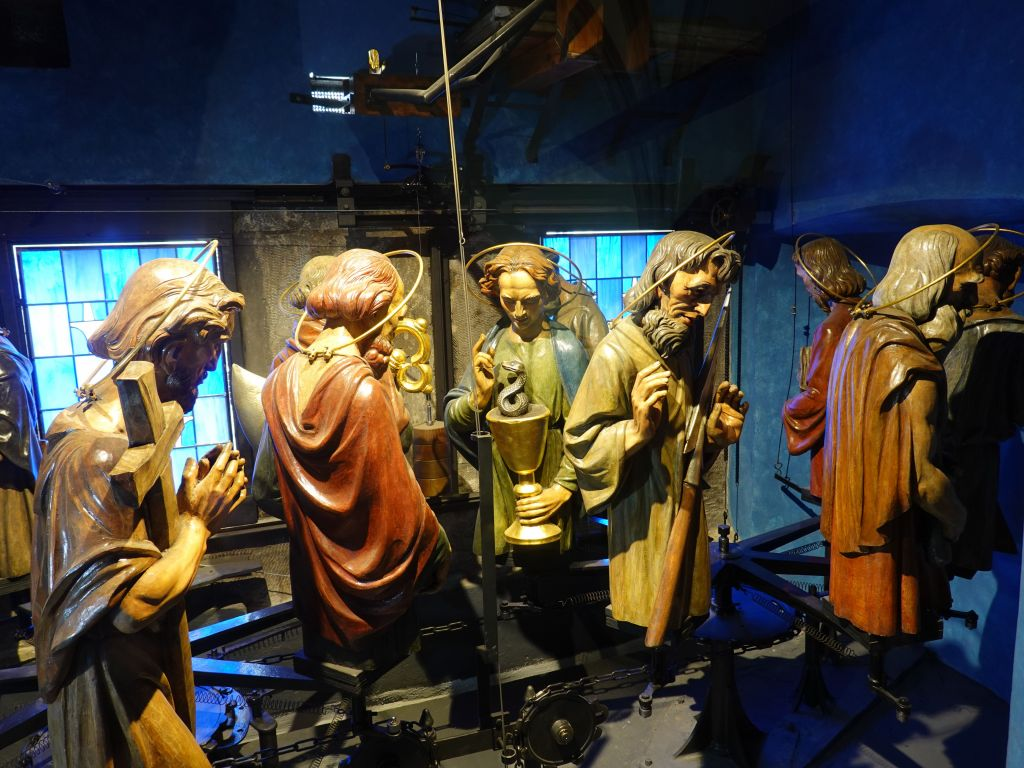 figurines that rotate on the outside of the astronomical clock