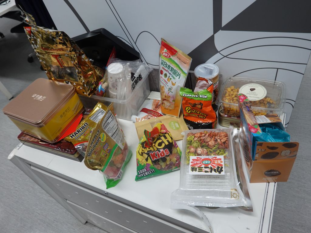 The HTC buildings didn't really have snacks in microkitchens during HTC days, and still don't today, so people brought their own