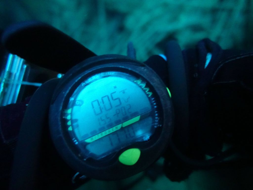 I was deep enough (55m) that my computer gave me a PPO2 warning (oxygen toxicity) instead of my depth