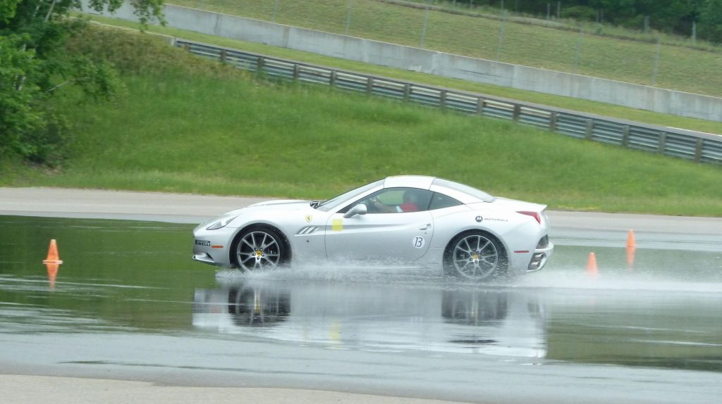 Ferrari California in the simulated rain, ironic :)