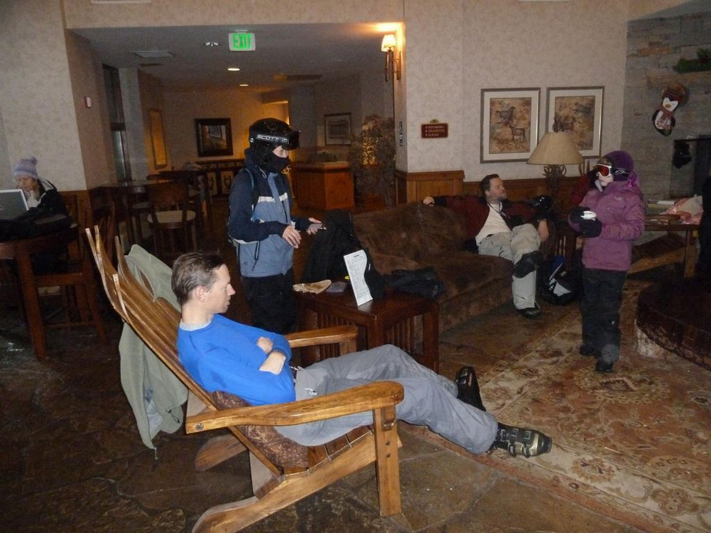 We waited the day out in the lodge, it was just sleeting outside :(