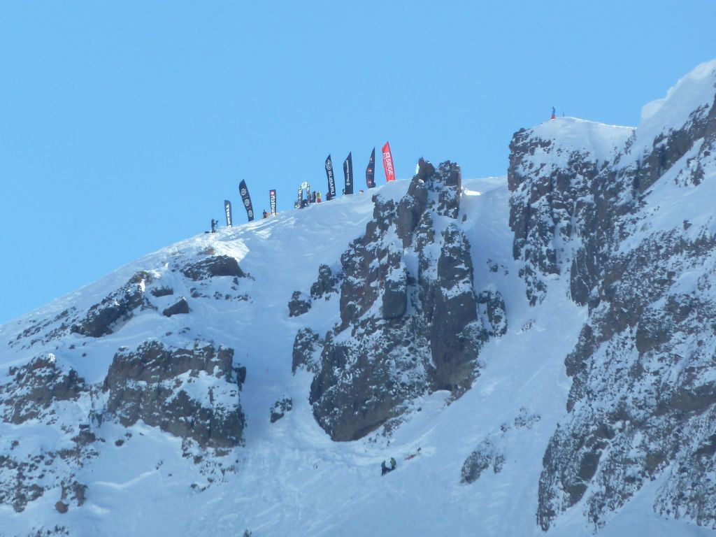 Crazy skiiers going down the cirque