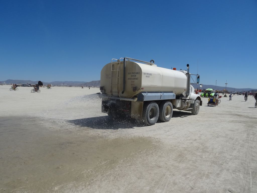 water truck to to make the roads easier to use